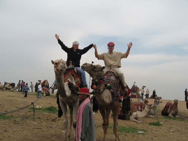 gana and david on camels in egypt