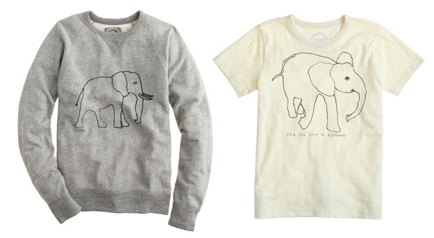 jcrew david sheldrick sweatshirt and tshirt